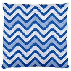 Background Of Blue Wavy Lines Large Flano Cushion Case (Two Sides)