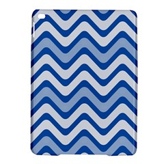 Background Of Blue Wavy Lines iPad Air 2 Hardshell Cases