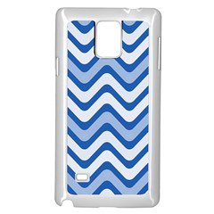 Background Of Blue Wavy Lines Samsung Galaxy Note 4 Case (White)