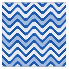 Background Of Blue Wavy Lines Large Satin Scarf (square)
