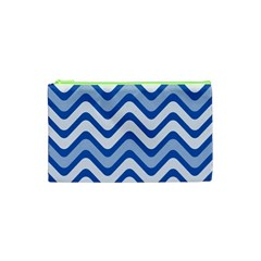 Background Of Blue Wavy Lines Cosmetic Bag (XS)