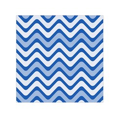 Background Of Blue Wavy Lines Small Satin Scarf (Square)