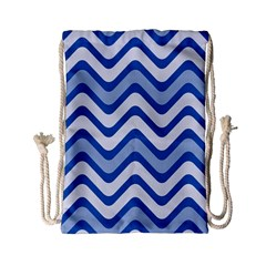 Background Of Blue Wavy Lines Drawstring Bag (small)