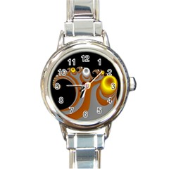 Classic Mandelbrot Dimpled Spheroids Round Italian Charm Watch