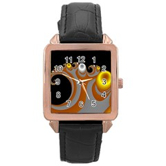 Classic Mandelbrot Dimpled Spheroids Rose Gold Leather Watch