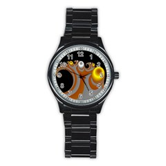 Classic Mandelbrot Dimpled Spheroids Stainless Steel Round Watch