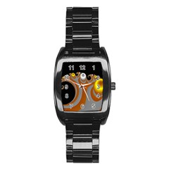 Classic Mandelbrot Dimpled Spheroids Stainless Steel Barrel Watch