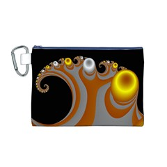 Classic Mandelbrot Dimpled Spheroids Canvas Cosmetic Bag (M)