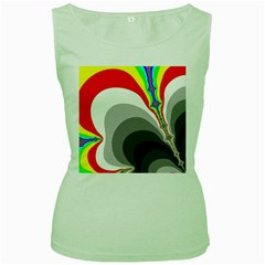 Background Image With Color Shapes Women s Green Tank Top