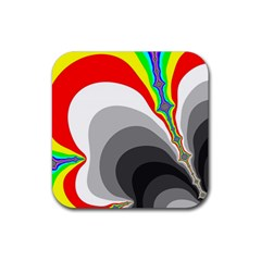 Background Image With Color Shapes Rubber Square Coaster (4 Pack)