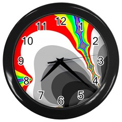 Background Image With Color Shapes Wall Clocks (black)