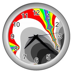 Background Image With Color Shapes Wall Clocks (silver)