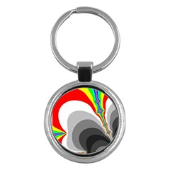 Background Image With Color Shapes Key Chains (Round)