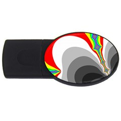 Background Image With Color Shapes Usb Flash Drive Oval (4 Gb)