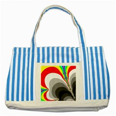 Background Image With Color Shapes Striped Blue Tote Bag