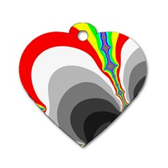 Background Image With Color Shapes Dog Tag Heart (one Side)