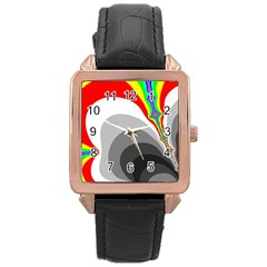 Background Image With Color Shapes Rose Gold Leather Watch