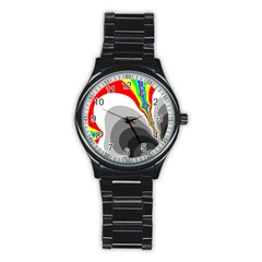 Background Image With Color Shapes Stainless Steel Round Watch