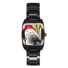 Background Image With Color Shapes Stainless Steel Barrel Watch