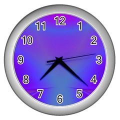 Violet Fractal Background Wall Clocks (Silver)