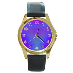 Violet Fractal Background Round Gold Metal Watch