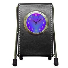 Violet Fractal Background Pen Holder Desk Clocks