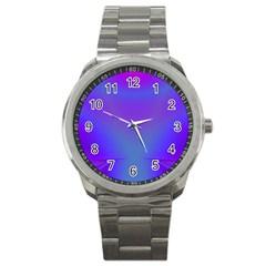 Violet Fractal Background Sport Metal Watch