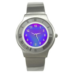 Violet Fractal Background Stainless Steel Watch