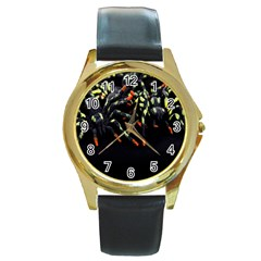 Colorful Spiders For Your Dark Halloween Projects Round Gold Metal Watch
