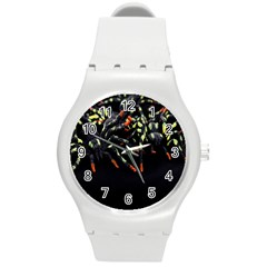 Colorful Spiders For Your Dark Halloween Projects Round Plastic Sport Watch (m)