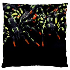 Colorful Spiders For Your Dark Halloween Projects Large Cushion Case (Two Sides)