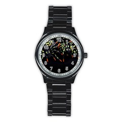 Colorful Spiders For Your Dark Halloween Projects Stainless Steel Round Watch