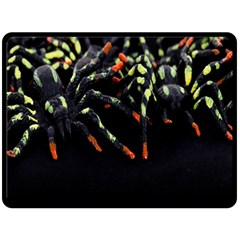 Colorful Spiders For Your Dark Halloween Projects Double Sided Fleece Blanket (Large)