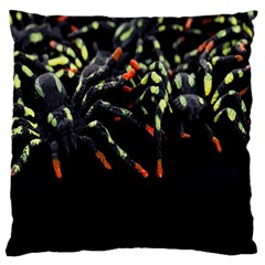 Colorful Spiders For Your Dark Halloween Projects Large Flano Cushion Case (one Side)