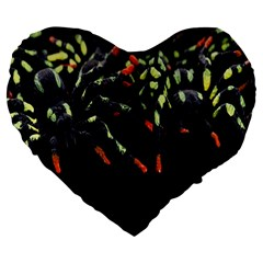 Colorful Spiders For Your Dark Halloween Projects Large 19  Premium Flano Heart Shape Cushions