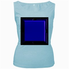 Blue Fractal Square Button Women s Baby Blue Tank Top