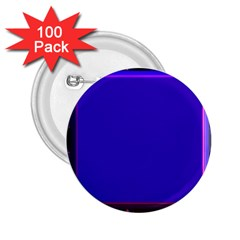 Blue Fractal Square Button 2 25  Buttons (100 Pack)