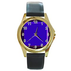 Blue Fractal Square Button Round Gold Metal Watch