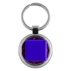 Blue Fractal Square Button Key Chains (Round)
