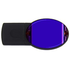 Blue Fractal Square Button USB Flash Drive Oval (2 GB)