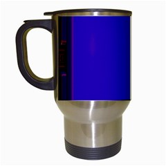 Blue Fractal Square Button Travel Mugs (White)
