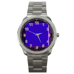 Blue Fractal Square Button Sport Metal Watch