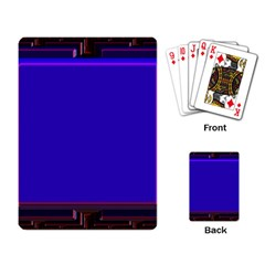 Blue Fractal Square Button Playing Card