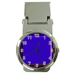 Blue Fractal Square Button Money Clip Watches