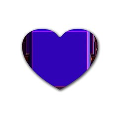 Blue Fractal Square Button Heart Coaster (4 Pack)