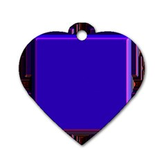Blue Fractal Square Button Dog Tag Heart (one Side)
