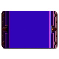 Blue Fractal Square Button Large Doormat