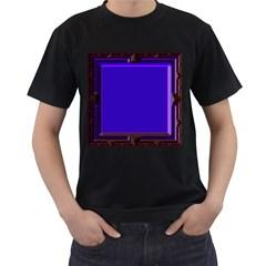 Blue Fractal Square Button Men s T Shirt (black)