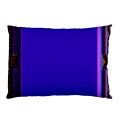 Blue Fractal Square Button Pillow Case (Two Sides)