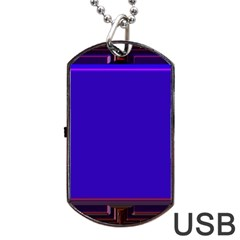Blue Fractal Square Button Dog Tag USB Flash (Two Sides)